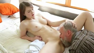 Lovely Redhead Is Surprised By An Older Gent